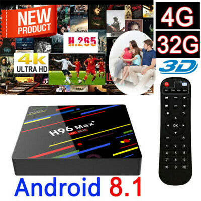 H96 Max+ Plus Android 8.1 TV Box 4+32G Quad-Core Smart WiFi Media Player 4K/3D