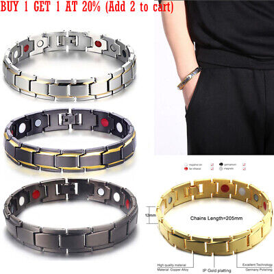 NEW Mens Therapeutic Energy Healing Magnetic Bracelet Therapy Arthritis qw1