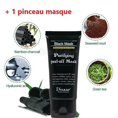 black mask masque charbon peeling  Peel Off Charcoal Disaar - pinceau
