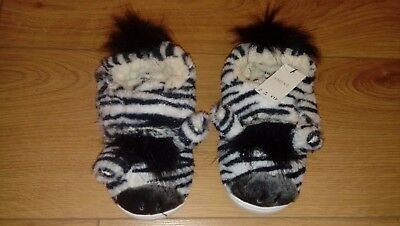 New NEXT Girls Fluffy Black And White Zebra Slippers Size 10 Infant