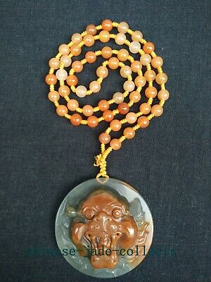 100% Natural Hand-carved Chinese Jade Pendant Jade Necklace Lion Head Portrait