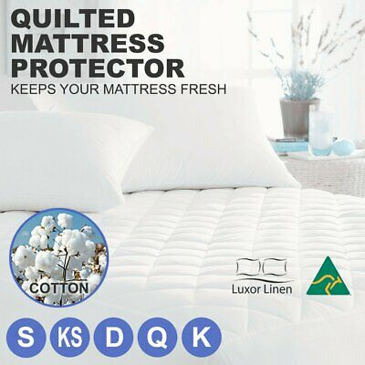 Aus Made Fitted Cotton Cover Quilted Mattress Protector Topper Pillow ALL SIZE!