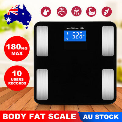 180KG Bluetooth Body Fat Scale Bathroom Gym Weight Scales Electronic AU SELLER