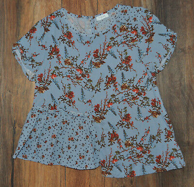 Next 7 Years Girls Blue Floral T- Shirt Top Blouse 100% Viscose