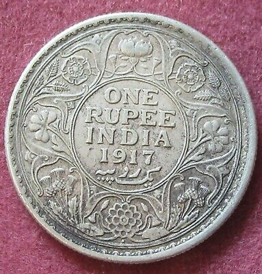 1917 British India George V One Rupee Silver Coin