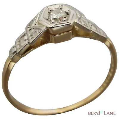 Original c1930 ART DECO 18K Gold Sweet Octagonal-set DIAMOND ENGAGEMENT RING