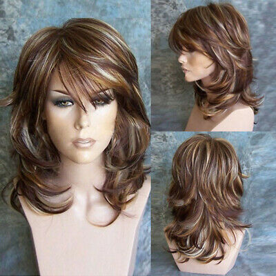 Brown Curly Wig for Women Girl Synthetic Wigs with Inclined Bangs Natural Wig