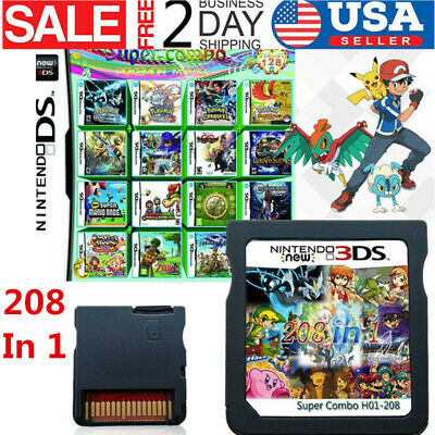 US 208 In 1 Games Game Multi Cartridge For Nintendo DS NDS NDSL NDSi- 3DS 2DS XL