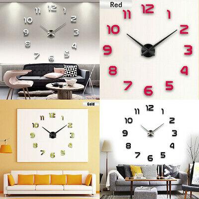 DIY 3D Large Wall Clock Frameless Mirror Number Sticker Home Art Decal Decor Hot