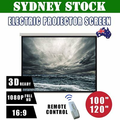 "100"" 120"" Inch Projector Screen Portable Electric Motorised TV Projection 3D BOS"