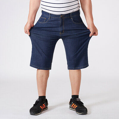 f7e74d75 Bluecton Summer Dark Blue Men Jeans Shorts Plus Size to 56 Stretch Big and  Tall