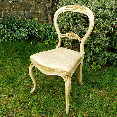 Victorian Cream & Giltwood Balloon Back Silk Upholstered Bedroom Chair C19th