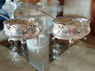 2 Ravinet and Denfert Salt Cellars Art Nouveau French Sterling Silver 950 / 1000