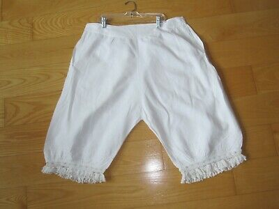 ANTIQUE VICTORIAN EDWARDIAN WOMEN'S WHITE LACE TRIM PANTALOONS BLOOMERS MED 1b