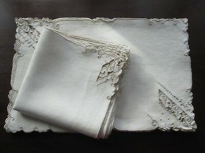 16 pc vintage Madeira embroidered ivory ecru linen placemats & matching napkins
