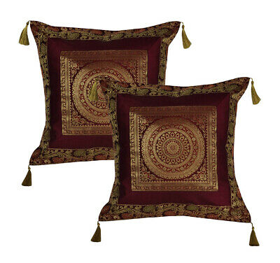 Living Room Decorative Maroon Throw Pillow Cushion Covers 18 X Inch Set Of 2
