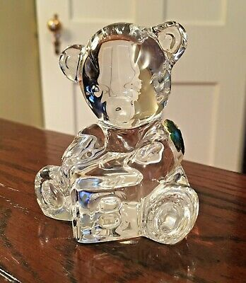 Waterford Crystal Teddy Bear Paperweight, Figurine - Sticker & Signed - Ireland