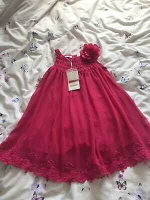 Monsoon Girls Dress Age 4-5 Years Bnwt £46 Bright Pink Summer Bridesmaid Etc
