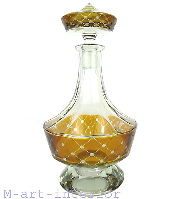 Art Deco Karaffe Kristall Glas Facetten, Czech Cut Crystal Decanter Bohemia 1920