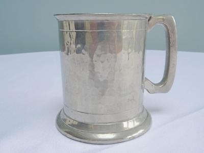 Vintage Small Tankard - English Pewter - Hand Hammered - Sheffield Made