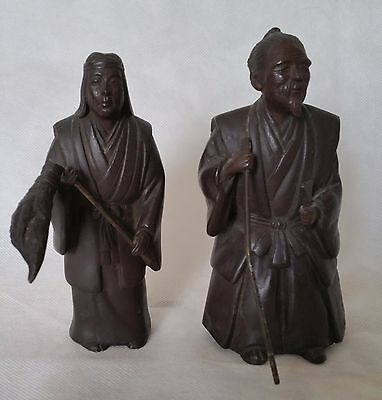 Unsigned Decorative Japanese Elder Couple Bronze Figure Sculpture Statue
