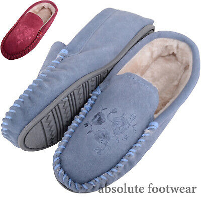 Ladies / Womens Real Genuine Suede Moccasin Slippers with Floral Design