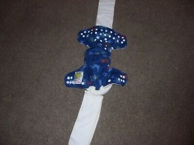 pampered patooties cloth diaper blue size medium euc