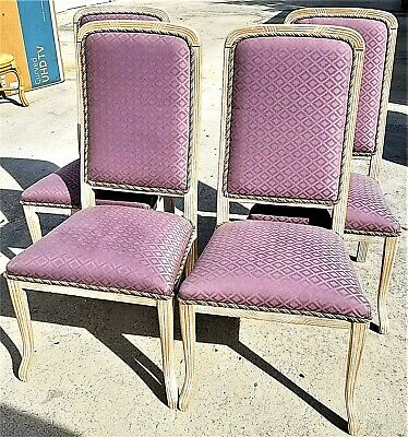 Set of 4 Upholstered French Provincial Carved Wood Lavender Purple Dining Chairs