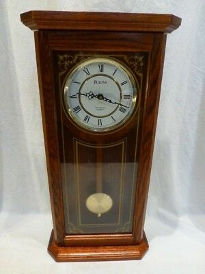 Bulova Cirrus C3375 Pendulum WALL CLOCK Oak Gold Etched Westminster Chime $440