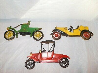 3 antique old vintage cast iron wall hanging cars automobiles model T decorative