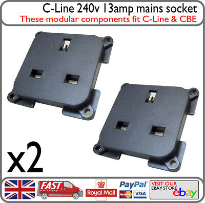 2x C-Line CBE 13amp 3 Pin UK Mains 240v 230v Socket Motorhome Boat Caravan RV VW