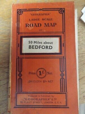 Geographia Large Scale Road Map 50 Miles About Bedford Paperback Fold Out Map