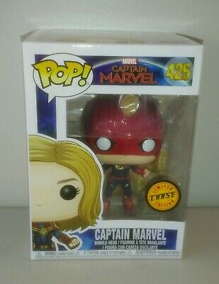 FUNKO POP! CAPTAIN MARVEL #425 --- Limited Edition CHASE With Helmet Mask