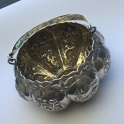 Exquisite Quality Antique Indian Islamic Solid Silver Pumpkin Bowl, Kutch c1890