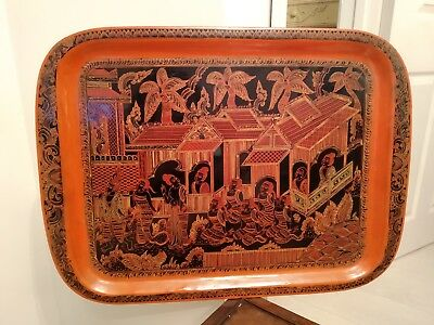 Lacquered Burmese Oriental Red Antique Vintage Tray