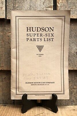 Vintage 1926 HUDSON Motor Car Co. Super Six Parts List Brochure Manual