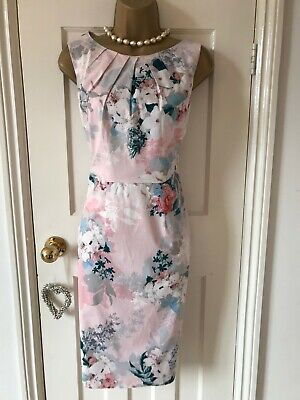 EX PHASE EIGHT KAILEY DRESS PENCIL SHIFT BLACK PINK FLORAL PARTY OCCASION 8-18