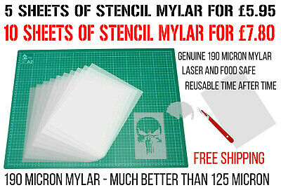 Blank Stencil Sheets Make Your Own Stencils Plastic Paper Laser and Food Safe