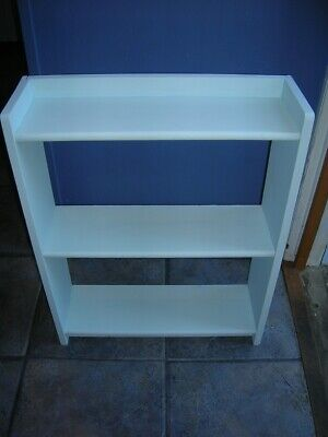 Vintage PINE SHELF UNIT Wooden Duck Egg Blue Painted 23inH x 18inW x 6in vgc