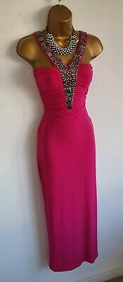 Jane Norman Hot Pink Grecian Embellished Neck Prom
