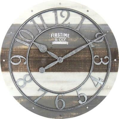 Wall Clock Shabby Wood Rustic Farmhouse Antique Style Home Decor Living Room New