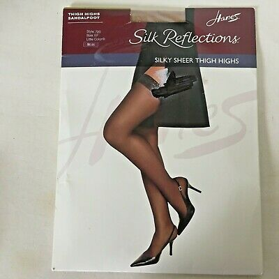 2860b6db3fd6d Hanes Silk Reflections Sandalfoot Little Color ThighHigh Stockings Size EF  Large