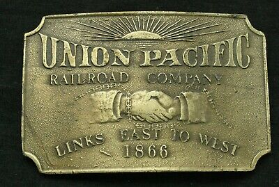 Vintage Brass Union Pacific Train Belt Buckle Railroad Company
