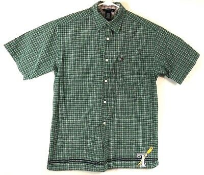 Tommy Hilfiger Boys Button Front Shirt XL Green Blue Plaid Lacrosse T Patch A1