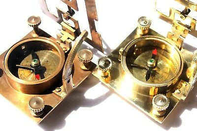 Lot of 2 Pcs Brass Square Type Sundial Compass Nautical Maritime Navy Navigation