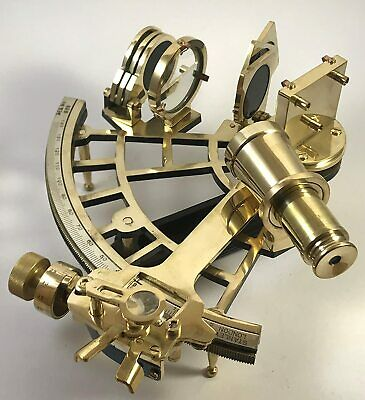 Heavy Brass Shiny Brass Working Sextant Vintage Reproduction Marine Perfect 9""