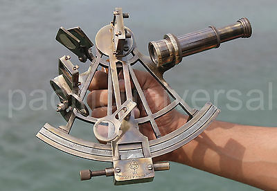 "Nautical Brass Ship Sextant Handmade Solid Brass Sextant Office Desk Decor 8""."