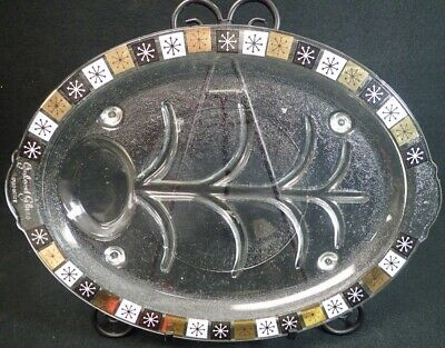 """Mid-Century-Modern Inland Glass Platter Atomic Snowflake Meat Serving Tray 14.5"""""""
