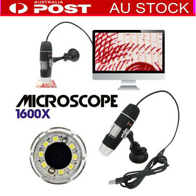 Multi 1600X 8LED 2-in-1 USB Microscope Digital Electronic Detection Magnifier AU