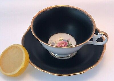 FOLEY Teacup & Saucer MATTE BLACK W/ FLORALS Bone China ENGLAND